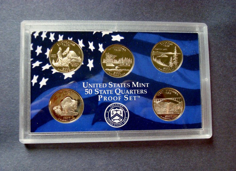 2005 S FIVE COIN PROOF STATE QUARTER SET IN SEALED HOLDER