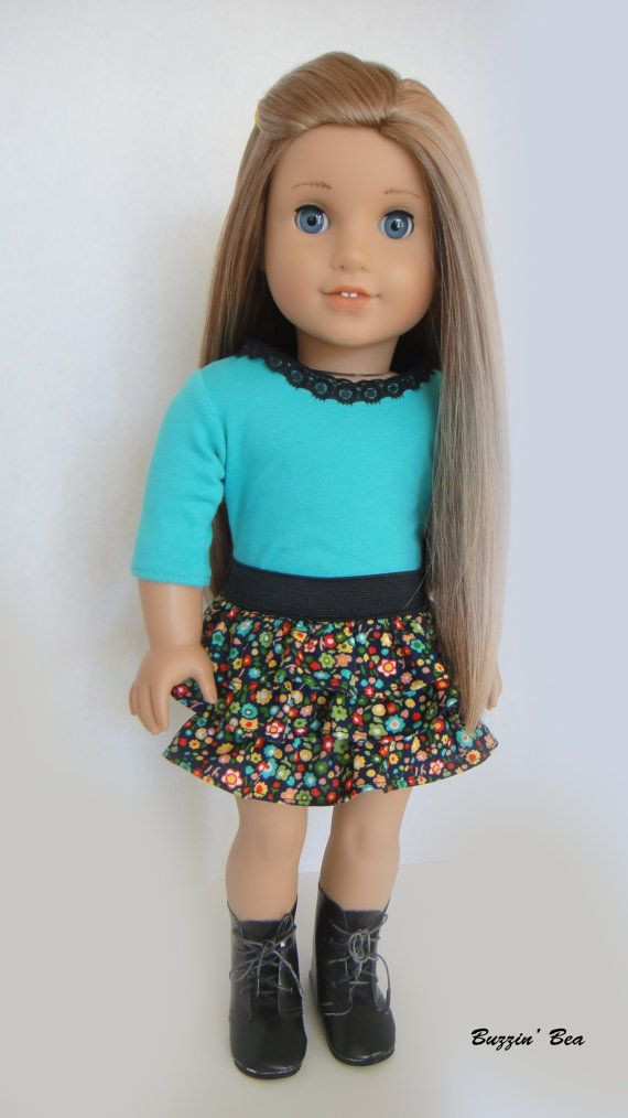 Elegant 3 4 Sleeve Shirt with Lace Neckline and Floral Ruffled American Girl Doll Skirts Of Incredible 50 Ideas American Girl Doll Skirts