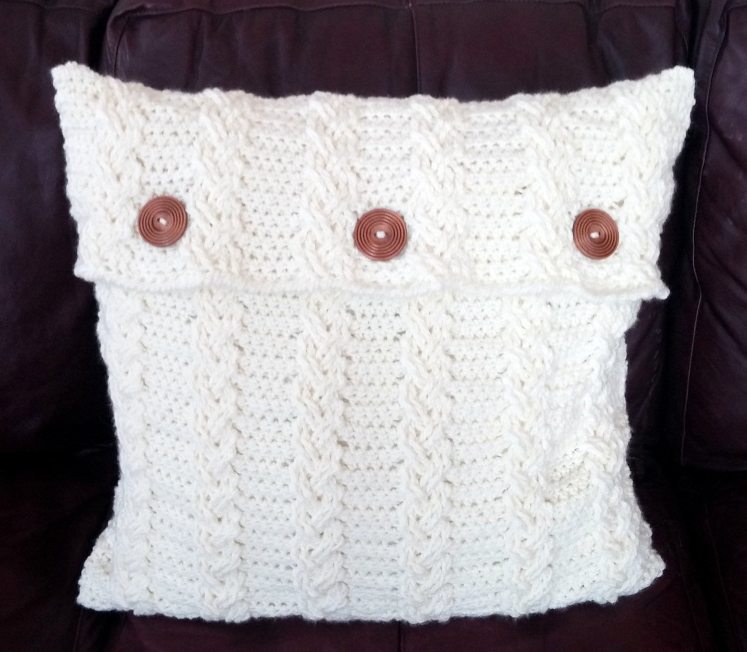 3 CROCHET PATTERN PDFs Pillow Covers Braided Cable