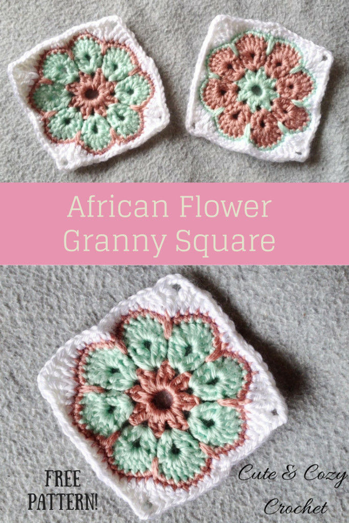 African Flower Granny Square Cute & Cozy Crochet