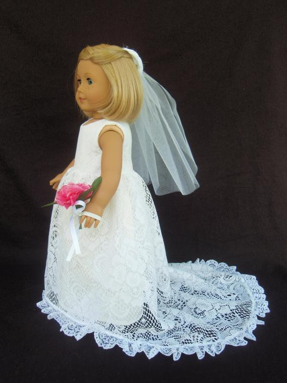 Elegant American Girl Doll Clothes Traditional Wedding Gown Dress American Girl Doll Wedding Dress Of Beautiful American Girl Doll Wedding Dress Satin and Silver American Girl Doll Wedding Dress