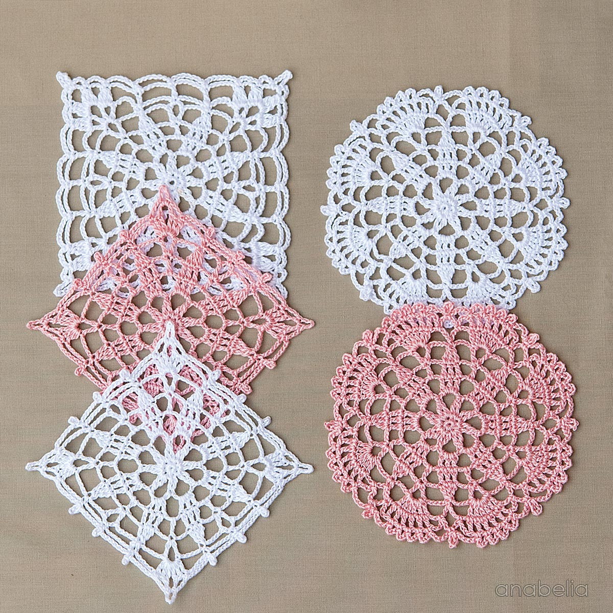 Anabelia craft design Crochet lace motifs in pink and