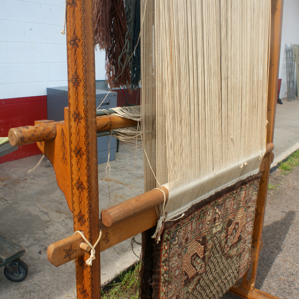 Antique Vertical Weaving Loom with Persian Rug