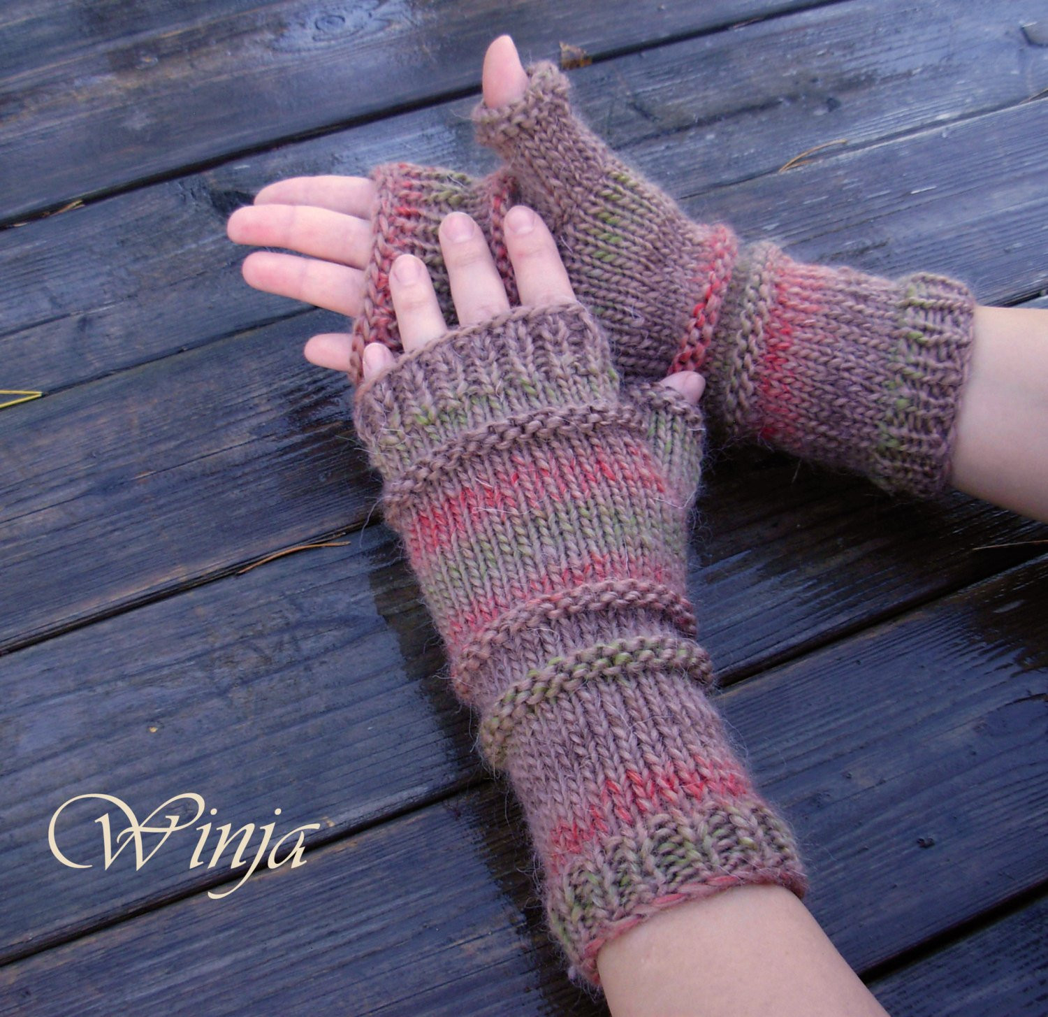 Arm warmers knitted mittens knit fingerless gloves chunky