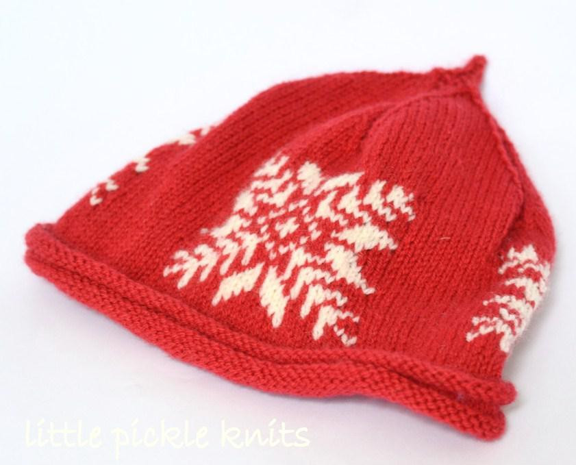 Baby Beanie Snowflake Knitting pattern by Little Pickle