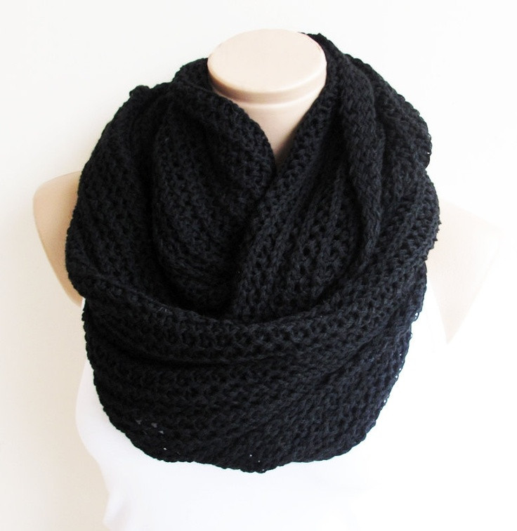 Elegant Black Chunky Lnfinity Knitted Scarf soft and Warm Loop Chunky Knit Infinity Scarf Of Awesome 41 Photos Chunky Knit Infinity Scarf