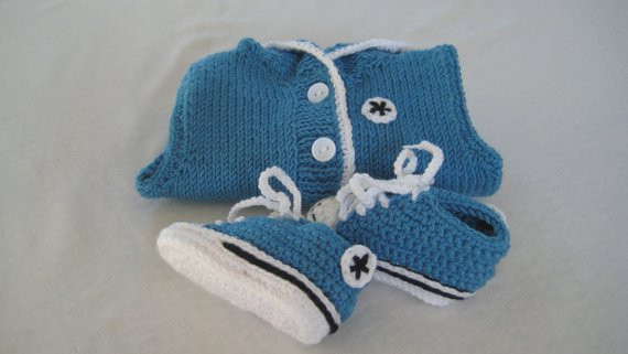 Blue Crochet Converse Baby Booties Chucks & Blue Hoo