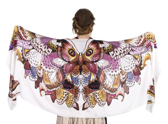 Bohemian Wedding Shawl Butterfly Wings Scarf Bridal by Shovava