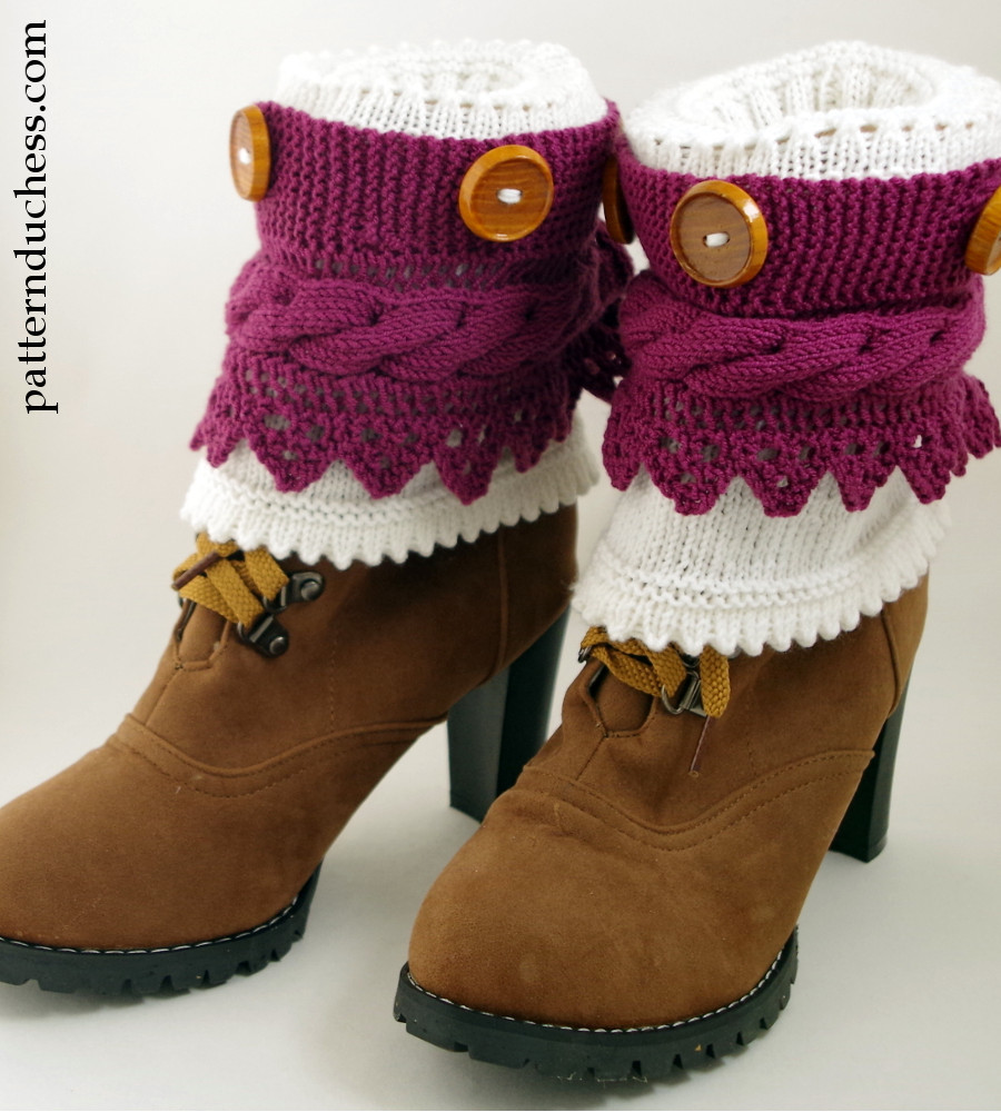Boot Cuffs Pattern With Buttons And Lace
