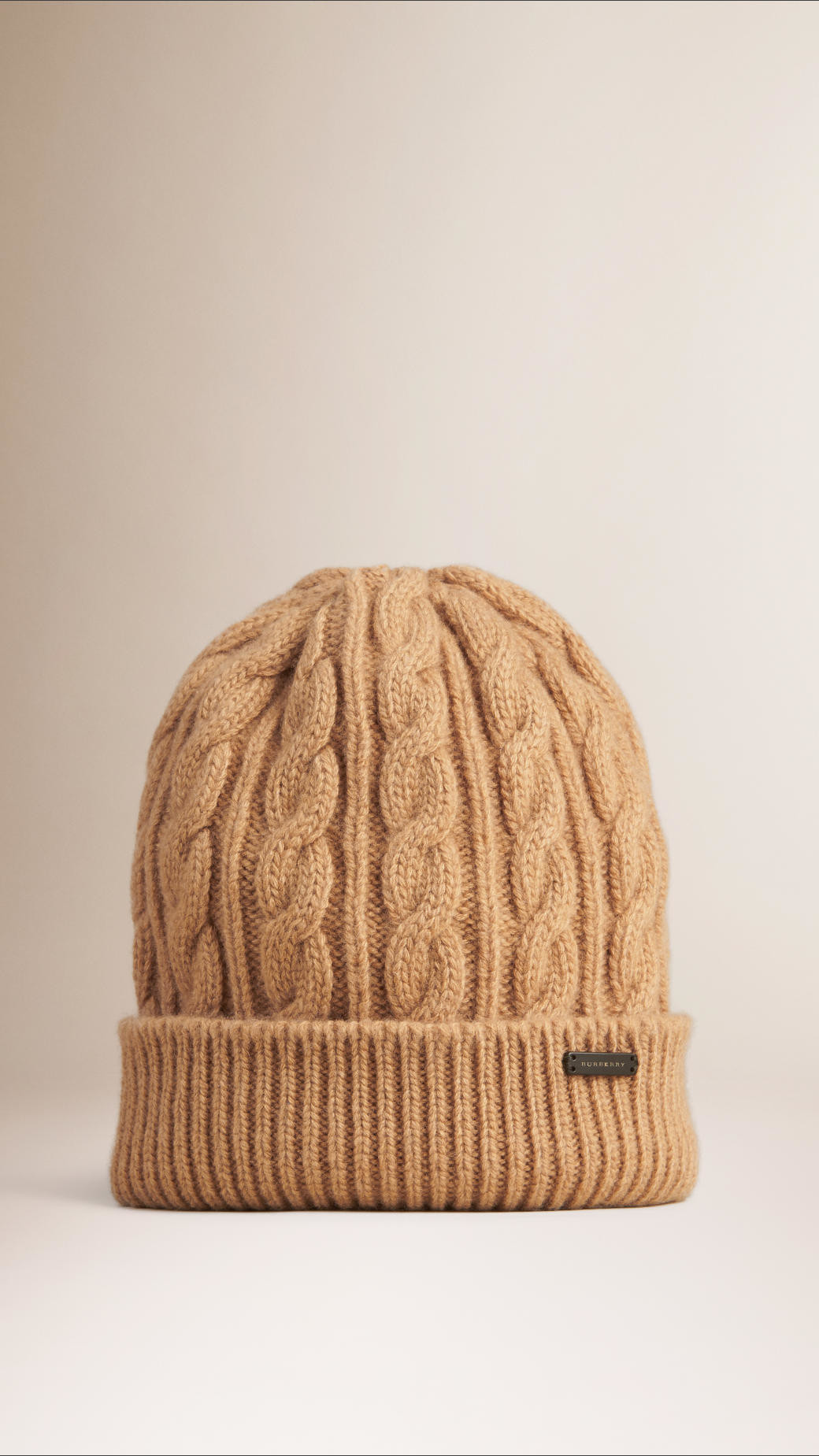 Burberry Cable Knit Wool Cashmere Beanie in Beige CAMEL