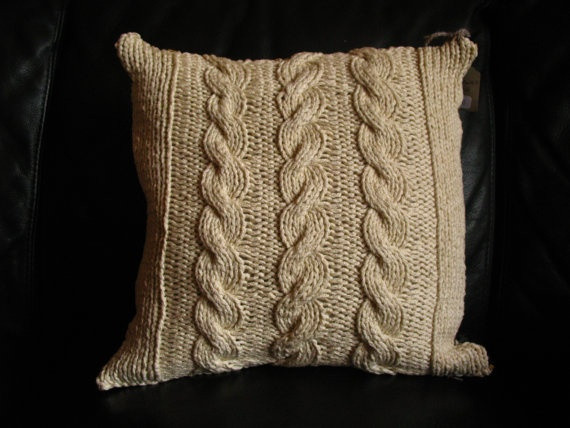 Cable knit Reversible Throw Pillow Cream