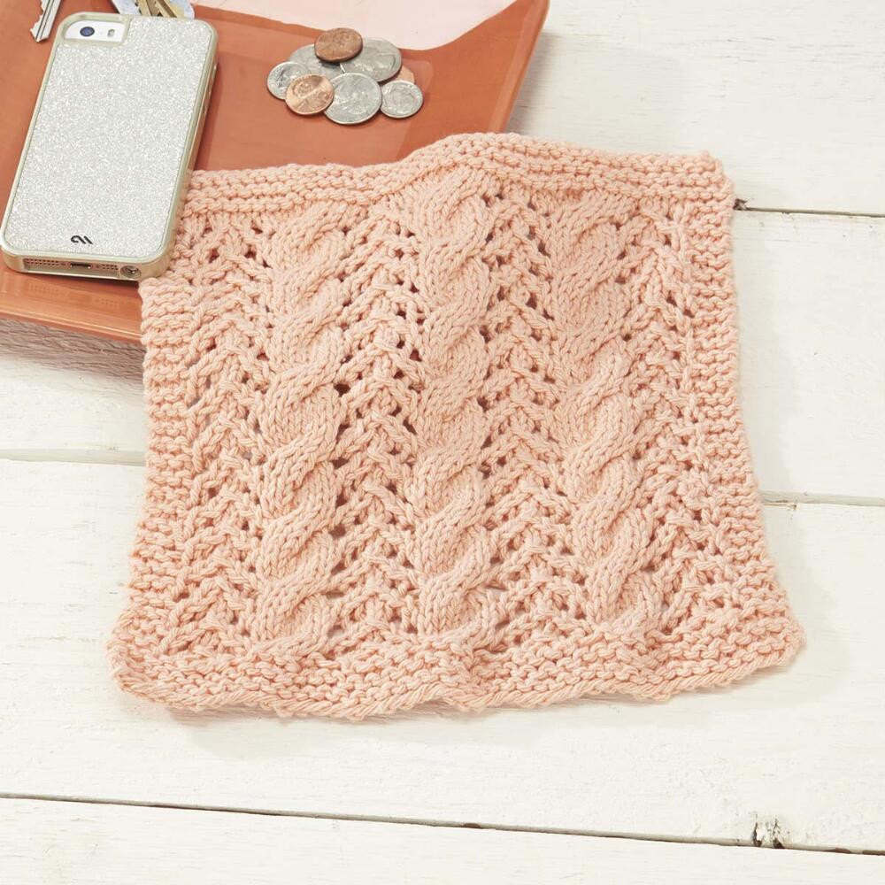 Cables and Lace Dishcloth Free Knitting Pattern ⋆ Knitting Bee