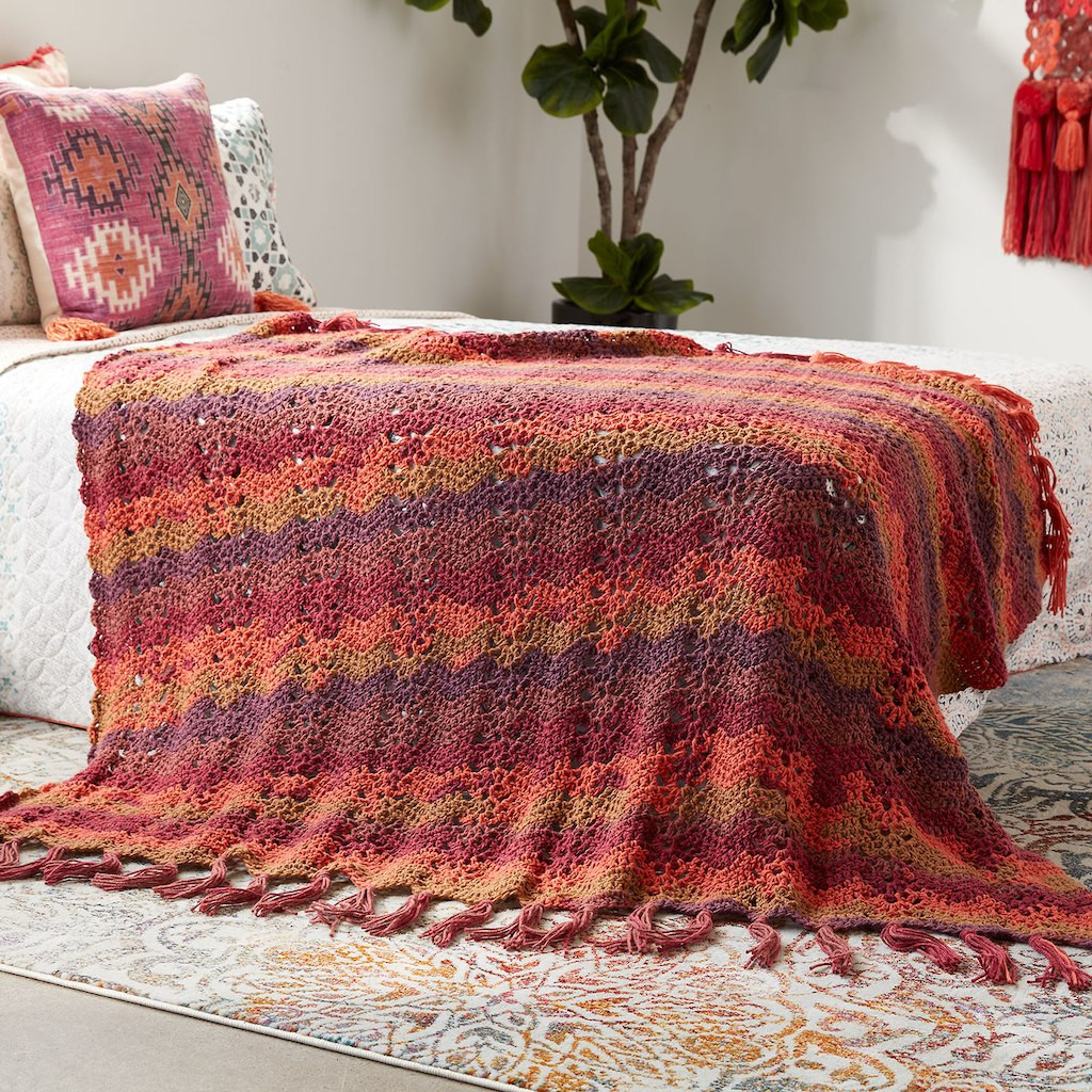 Elegant Caron Big Cakes™ Ocean Waves Crochet Blanket In Cranberry Caron Cakes Blanket Of Beautiful 47 Models Caron Cakes Blanket