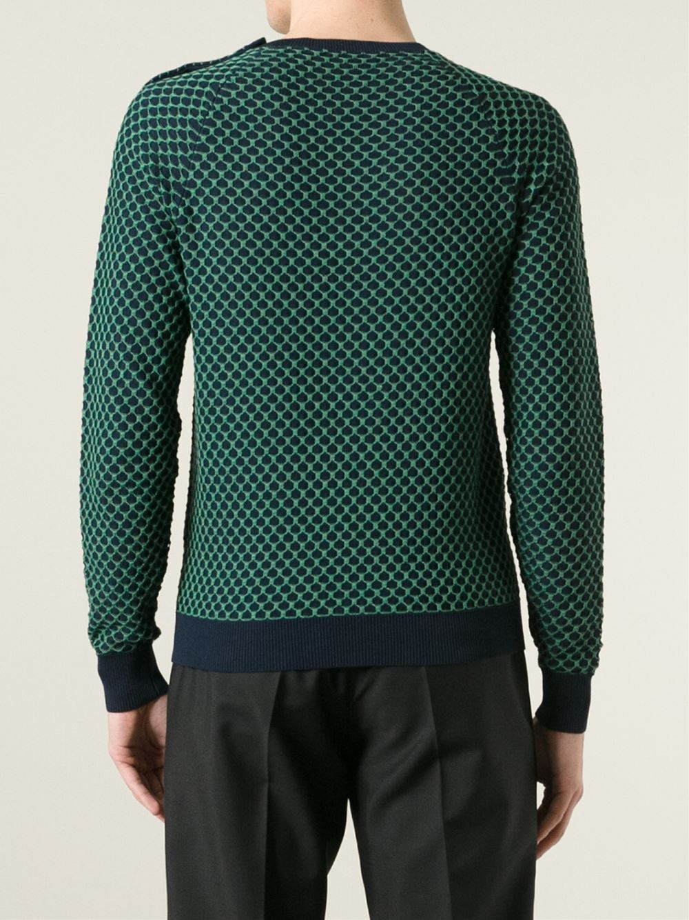Carven Patterned Sweater in Blue for Men
