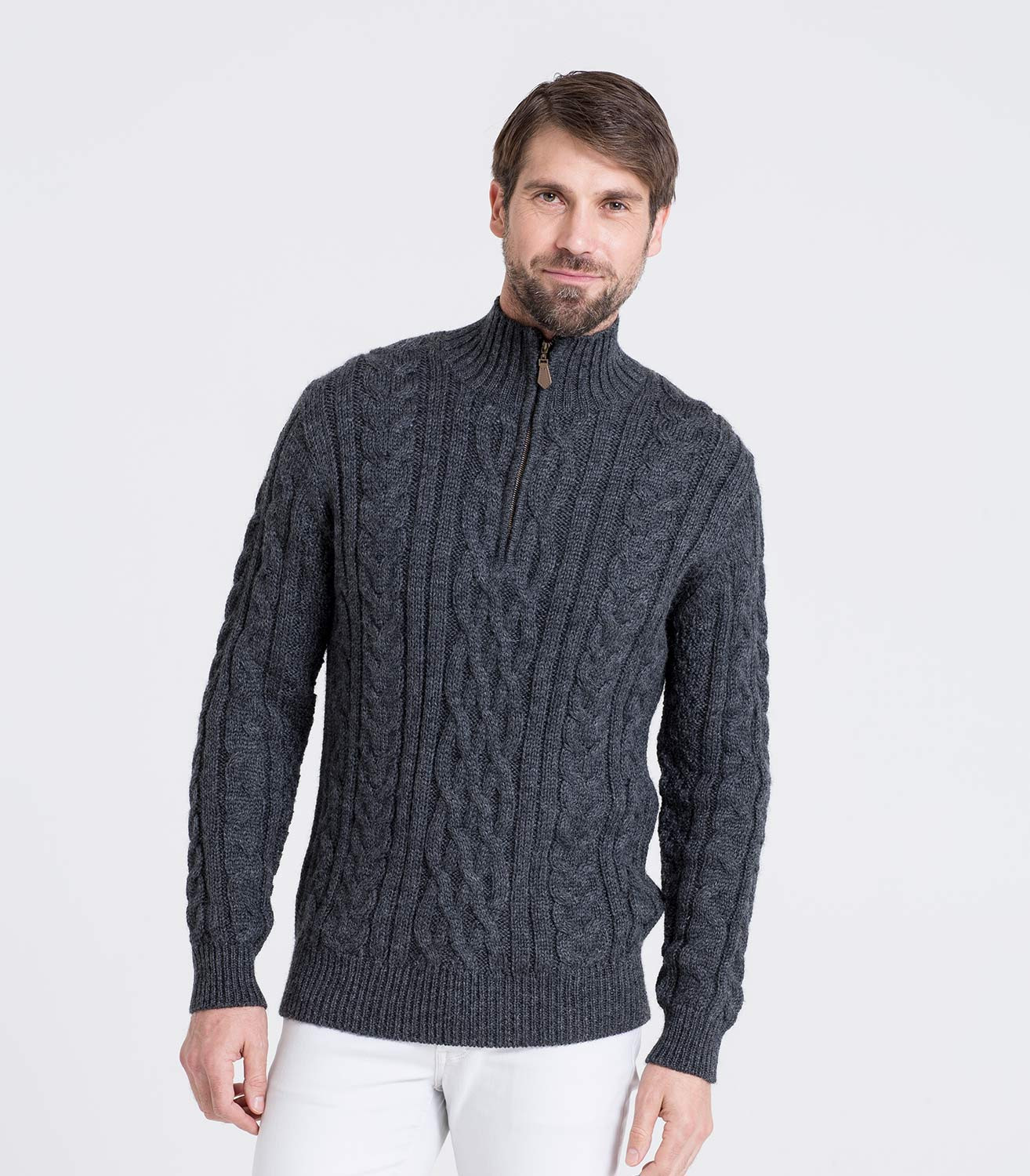 Elegant Charcoal Pure Wool Mens Cable Cardigan Of Top 48 Pics Mens Cable Cardigan
