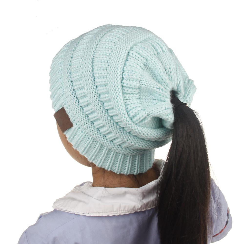 Children Messy High Bun Ponytail Stretchy Knitted Beanie