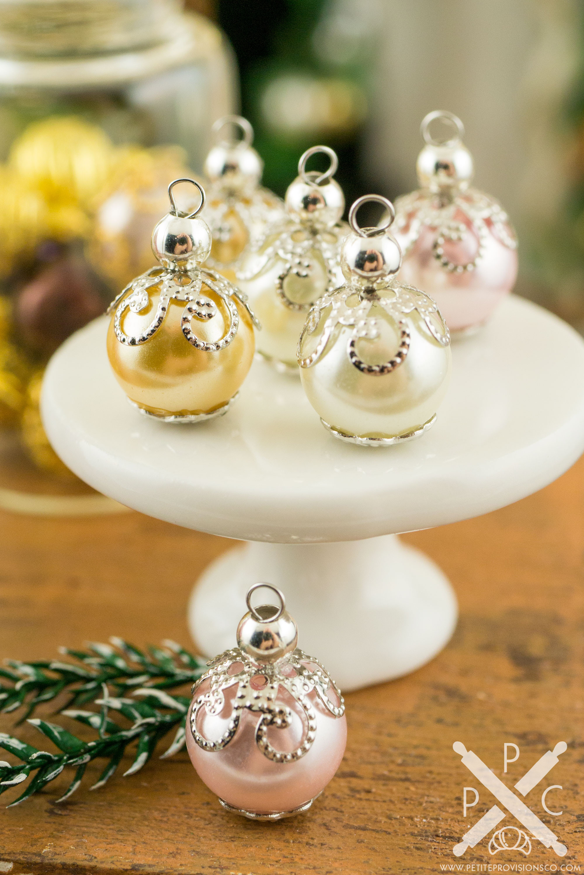 Miniature Elegant Pink Ivory and Peach Christmas