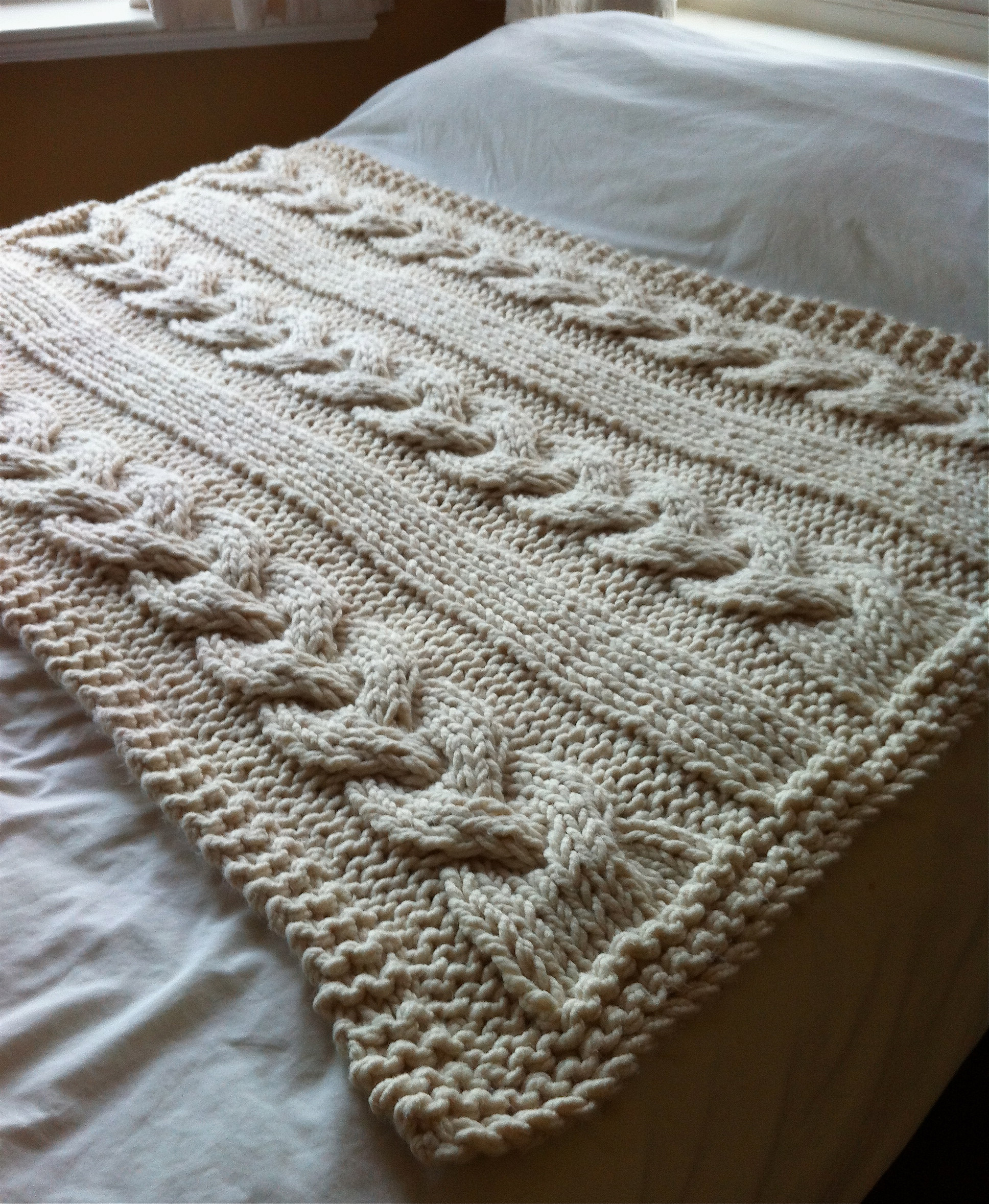 Beautiful Free Reversible Cabled Knit Baby Blanket Pattern Crochet