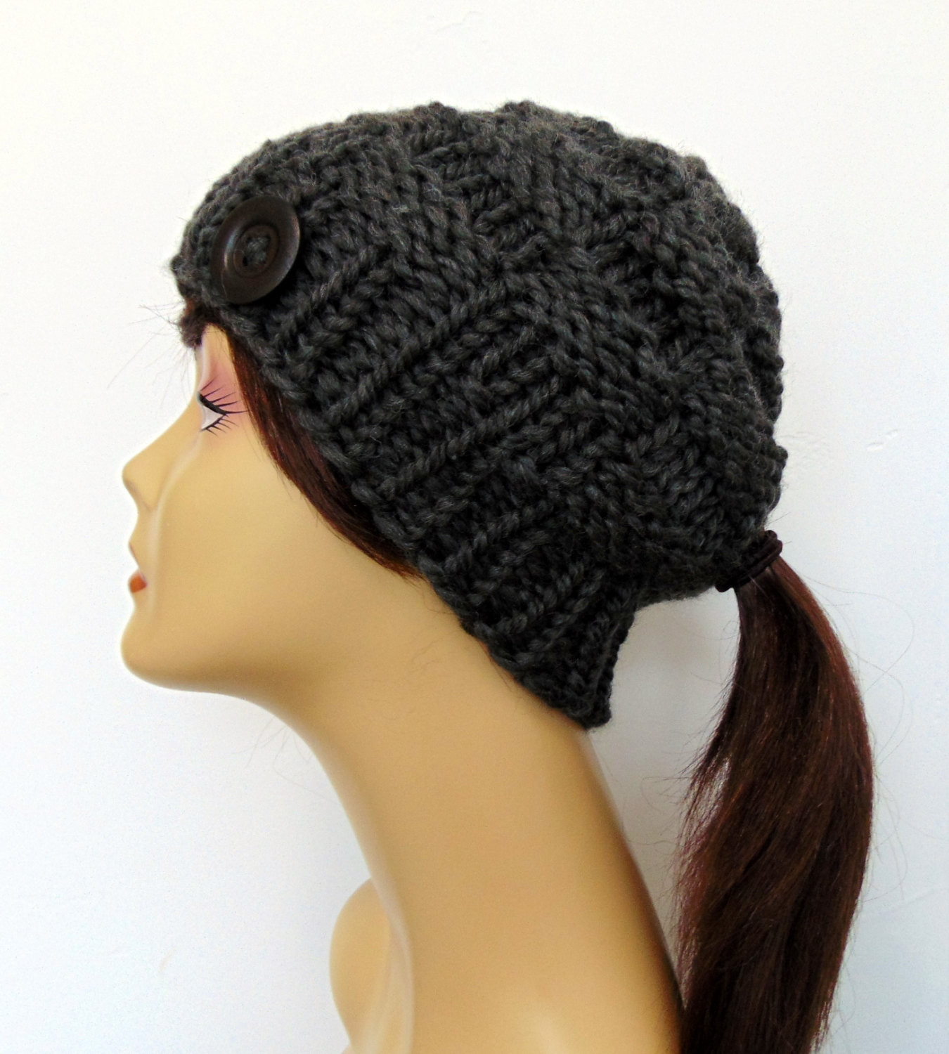 Elegant Chunky Knit Gray Ponytail Hat Beanie Pony Tail Hole Beanie with Bun Hole Of Amazing 46 Photos Beanie with Bun Hole