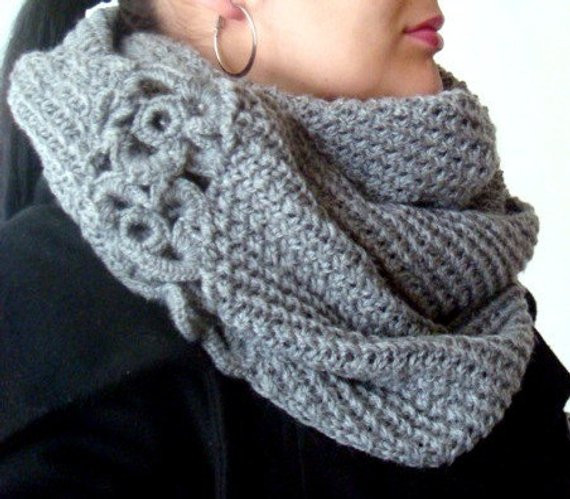 Circle Scarf Knitting Pattern with Crochet Flowers 16