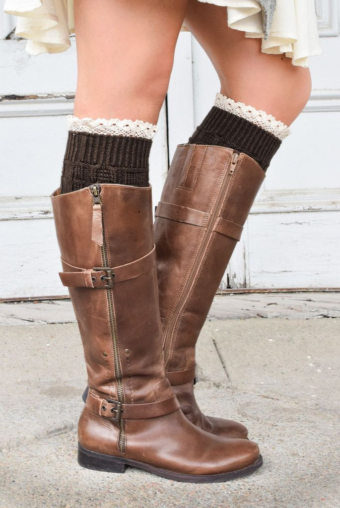 Elegant Coffee Knitted Boot Cuffs with Lace Trim – Bootcuffsocks Knitted Boot Cuffs Of Awesome Kriskrafter Free Knit Pattern 2 Needle Boot toppers Cuffs Knitted Boot Cuffs