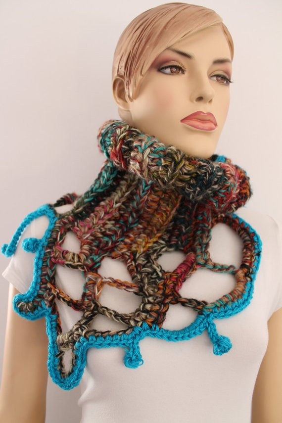 Elegant Colorful Chunky Crochet Cowl Scarf Capelet Neck by Levintovich Crochet Cowl Neck Scarf Of Superb 49 Models Crochet Cowl Neck Scarf