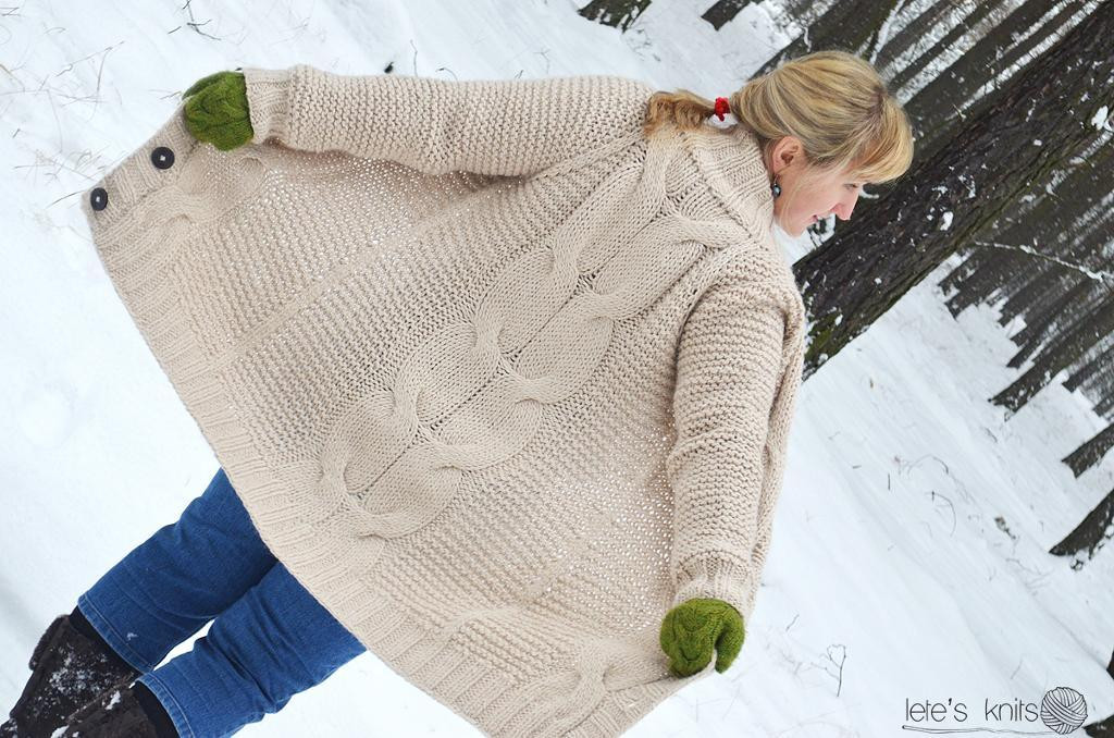 "Elegant Cozy Oversized Cardigan Patterns for Fall Cable Knit Sweater Pattern Of New Lace & Cable Sweater Dk Wool 30"" 40"" Knitting Cable Knit Sweater Pattern"