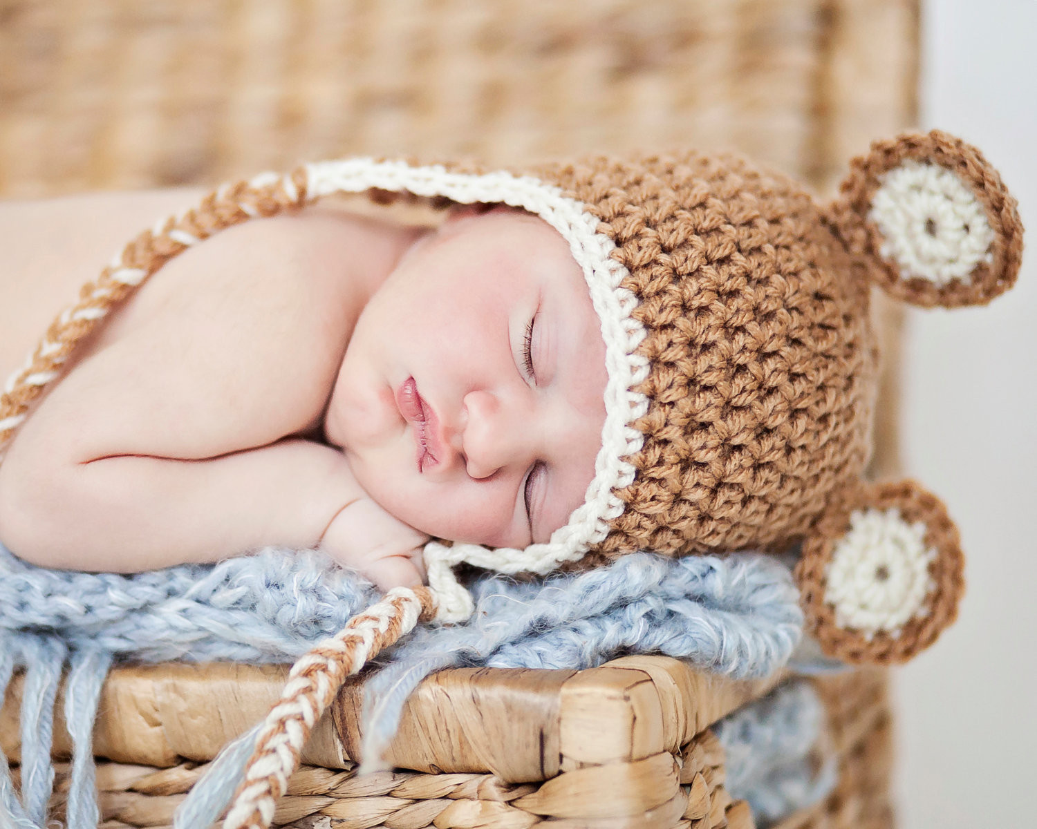Crochet Baby Hat – Earflap Hat with Ears – Size 0 3 Months
