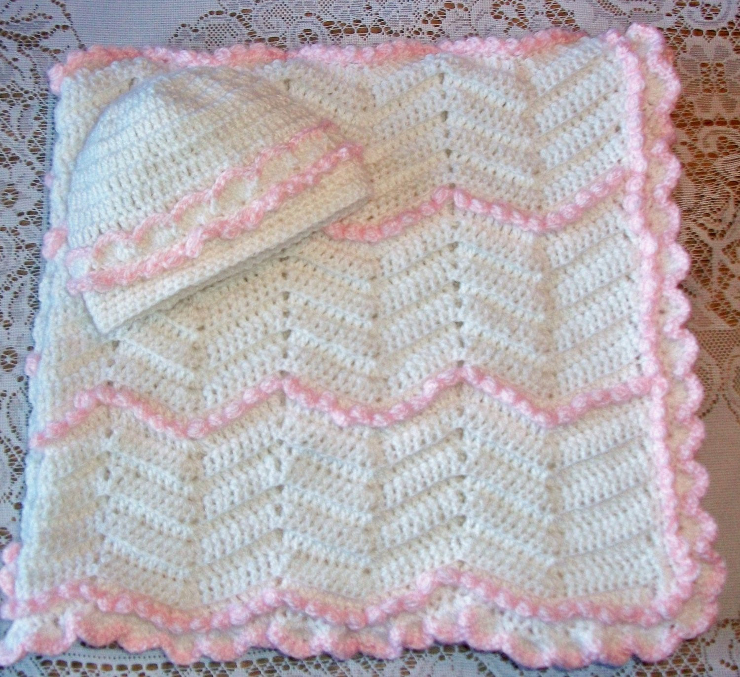 Crochet Chevron Zig Zag Blanket With 3D Rosettes and Matching