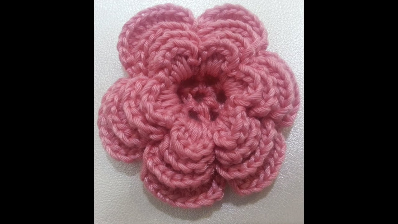 Crochet flower tutorial 3