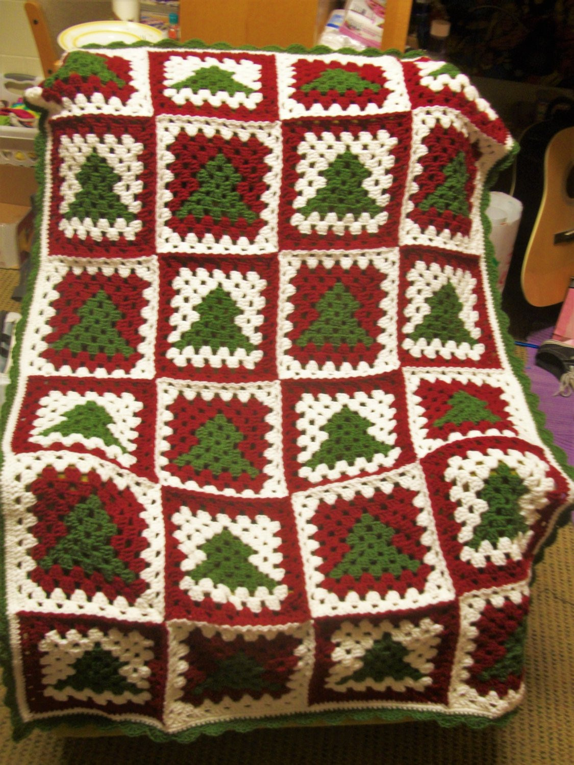 CROCHET PATTERN Christmas Tree Granny Square Afghan