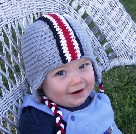 Crochet Pattern OSU Colors Football Earflap Helmet with Decals