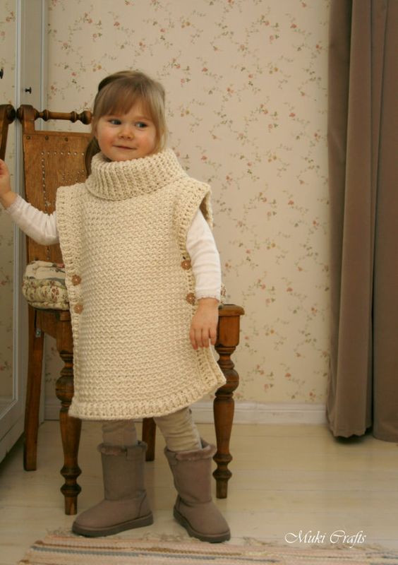 CROCHET PATTERN poncho Scarlett with turtleneck and