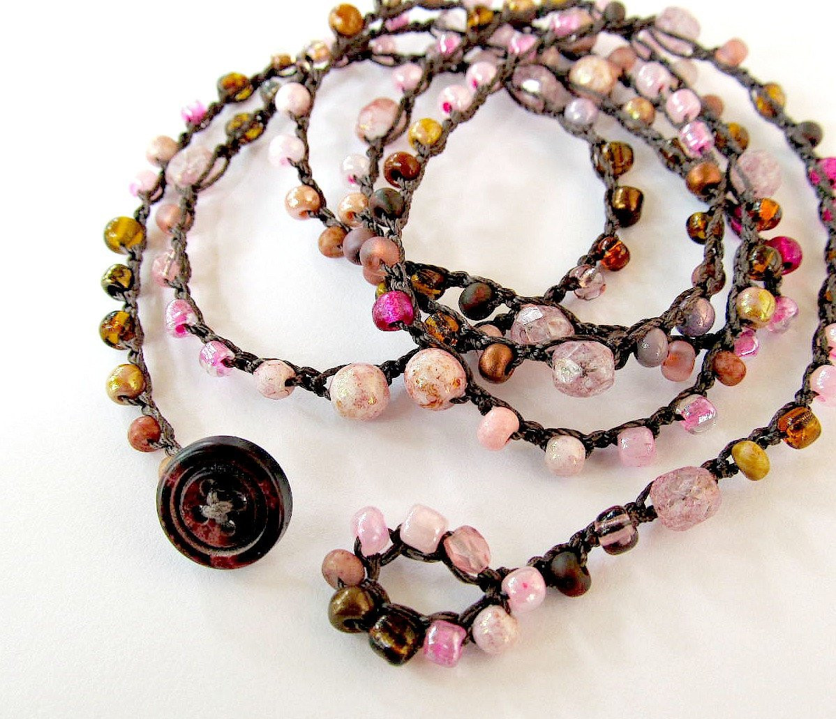 Elegant Crochet Wrap Bracelet or Necklace Beaded Petals Crochet Beads Necklace Of Fresh 42 Models Crochet Beads Necklace