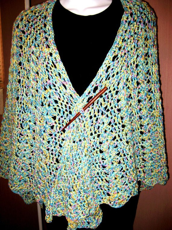 Crocheted Lace Cotton Shawl Butterfly bat wing by crochetgal