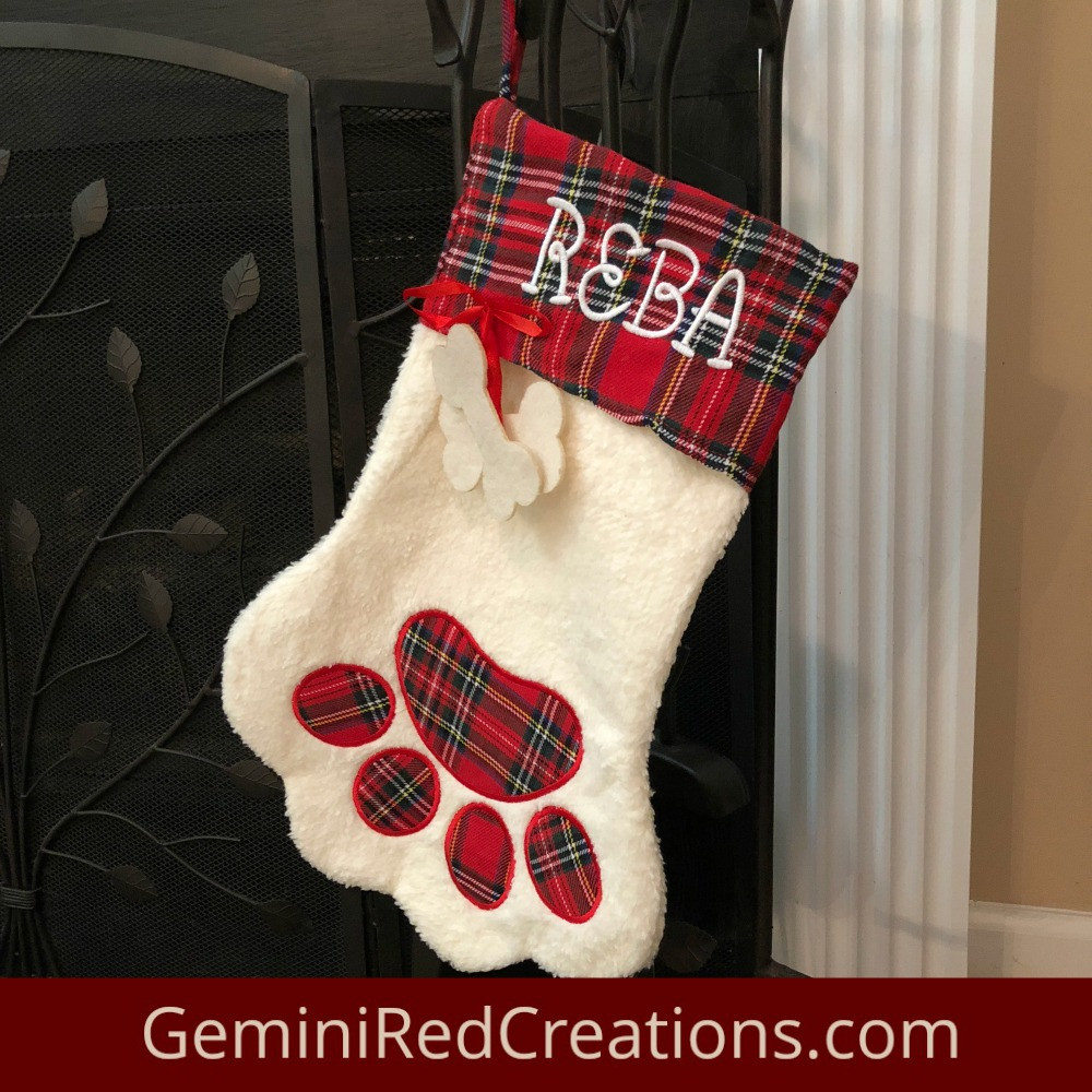 Elegant Dog Paw Monogrammed Christmas Stocking Geminired Creations Dog Paw Stocking Of Charming 44 Ideas Dog Paw Stocking