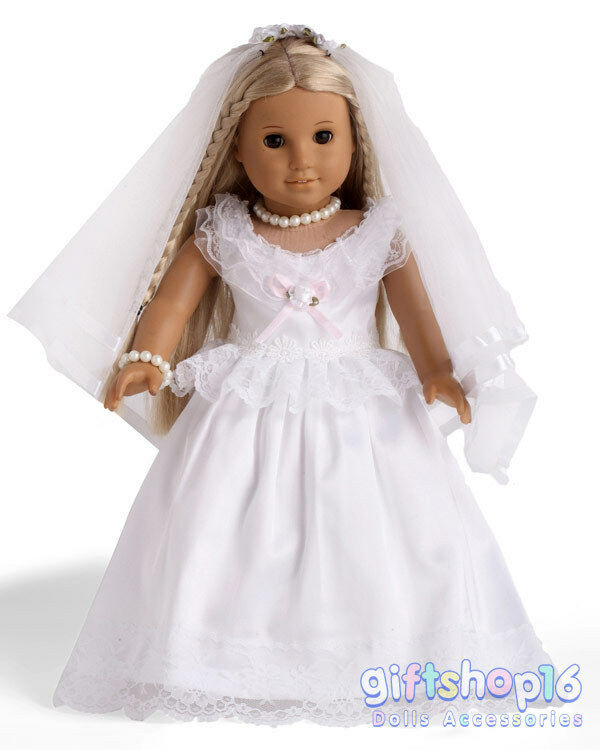 Elegant Doll Clothes First Munion Wedding Dress Made for 18 American Girl Doll Wedding Dress Of Beautiful American Girl Doll Wedding Dress Satin and Silver American Girl Doll Wedding Dress
