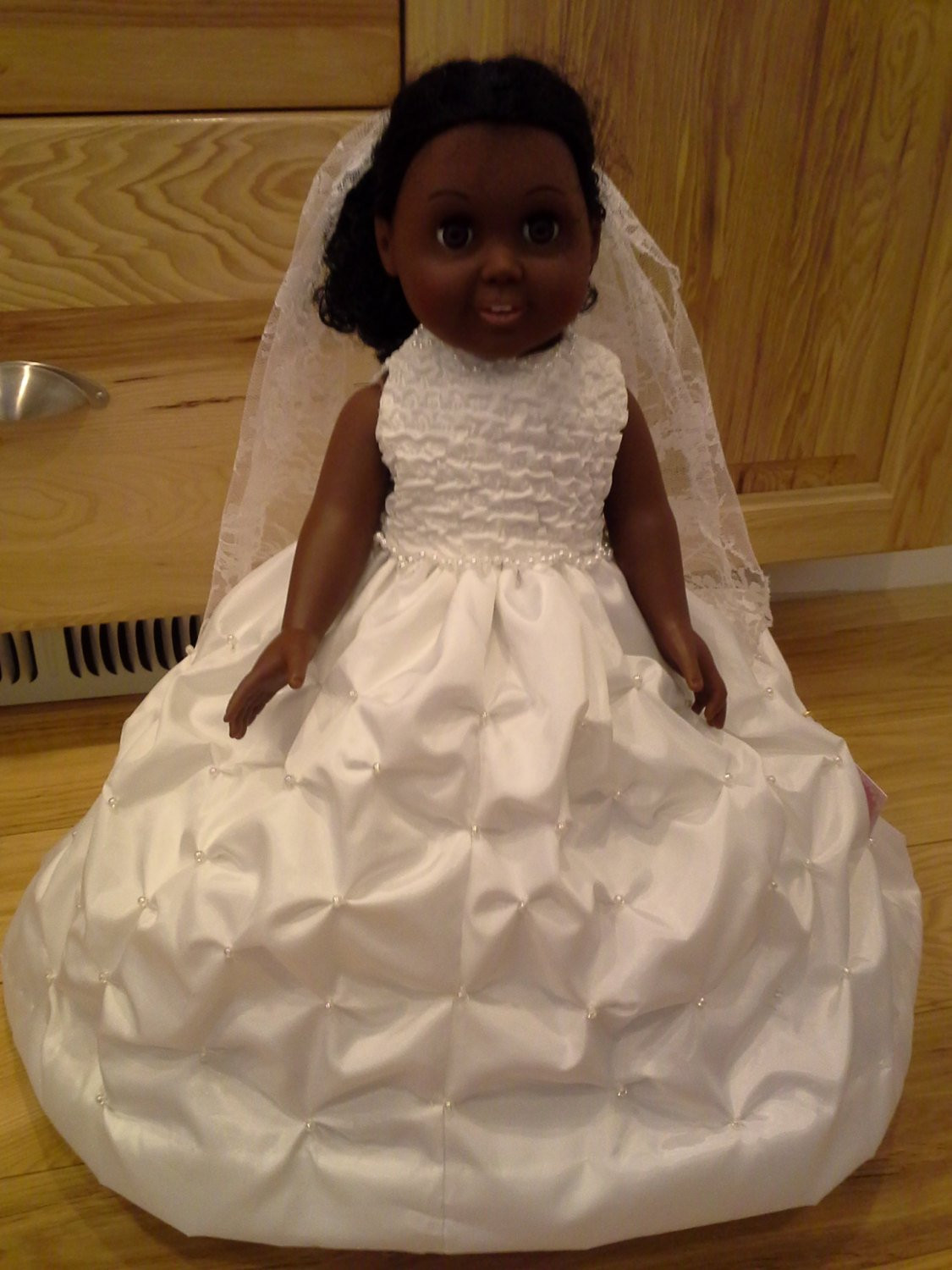 Elegant Doll Wedding Gown and Veil American Girl Doll American Girl Doll Wedding Dress Of Beautiful American Girl Doll Wedding Dress Satin and Silver American Girl Doll Wedding Dress