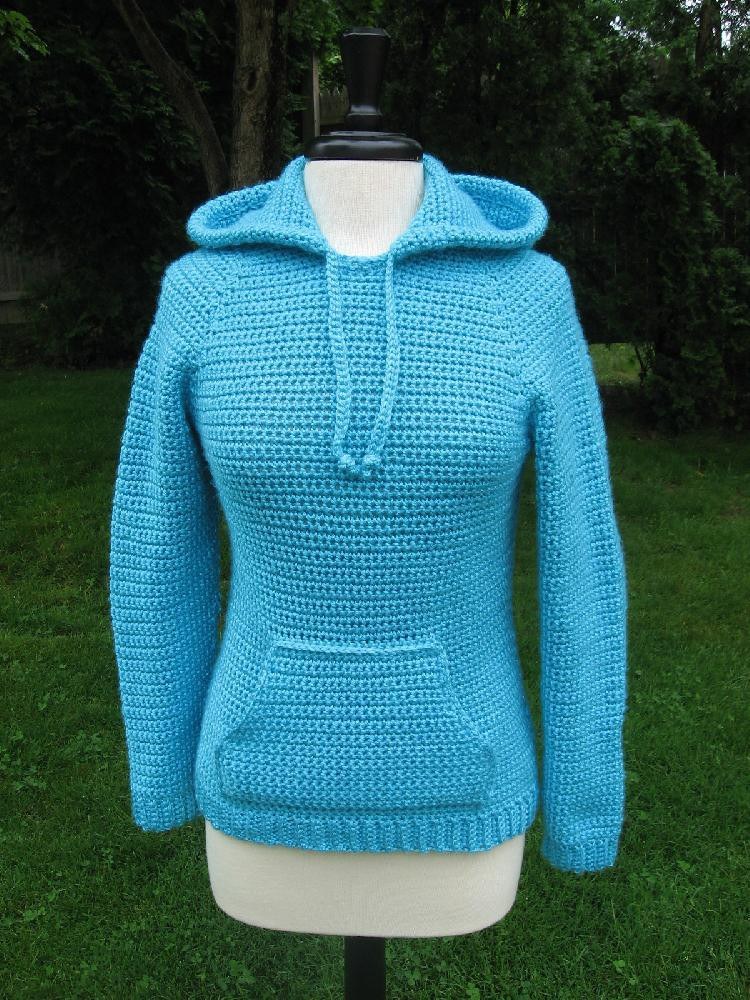 Ever in style Raglan Hooded Pocket Pullover Crochet