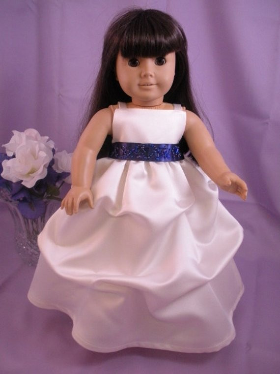Elegant Flower Girl Dress for American Girl Doll Wedding First American Girl Doll Wedding Dress Of Beautiful American Girl Doll Wedding Dress Satin and Silver American Girl Doll Wedding Dress
