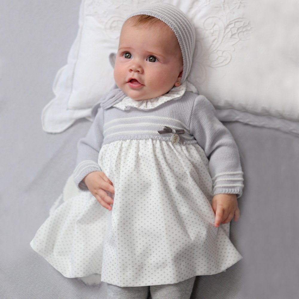 Elegant Foque Baby Girls Grey Dress & Knitted Bonnet Set Baby Girl Knitted Dress Of Incredible 47 Photos Baby Girl Knitted Dress