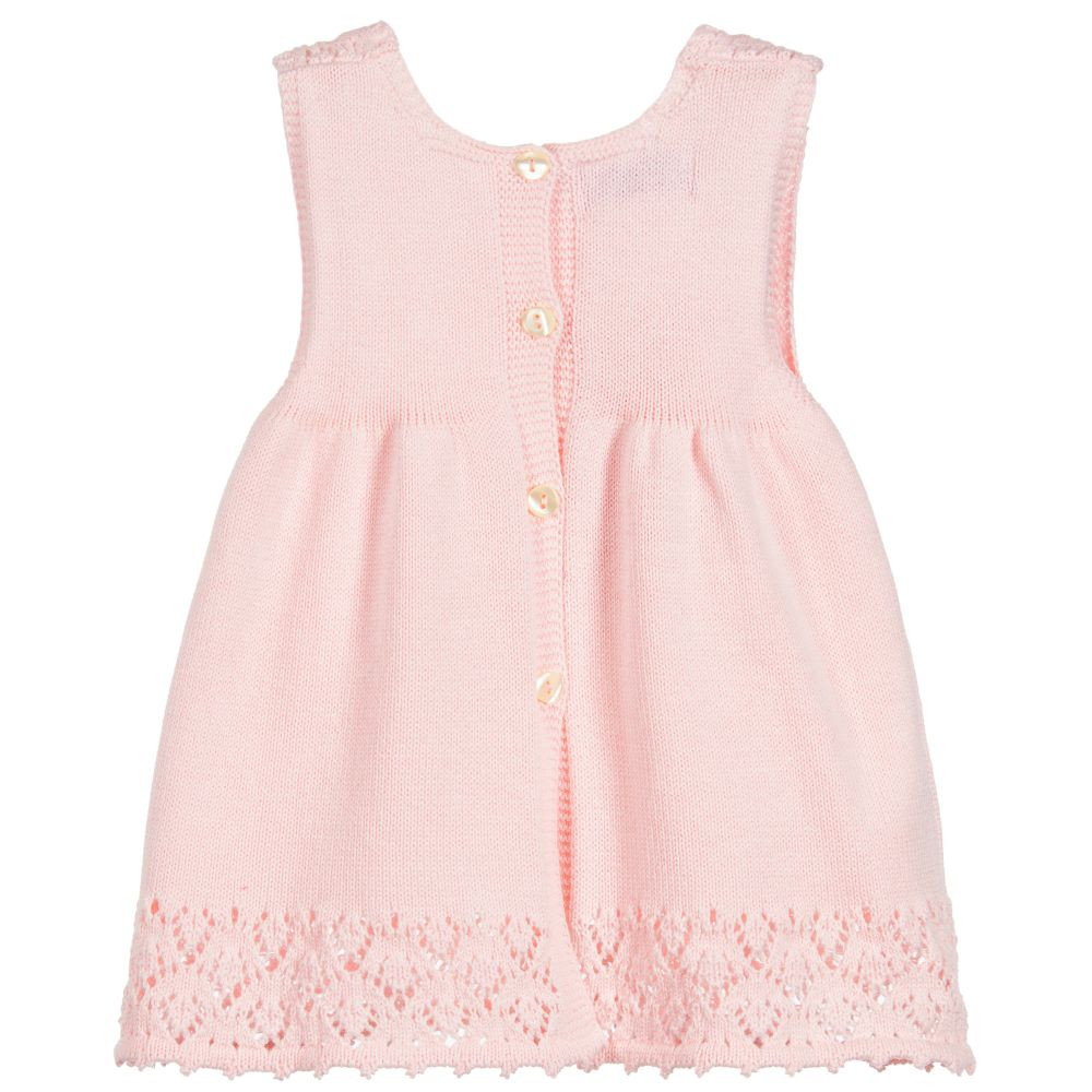 Foque Baby Girls Pink Knitted Dress