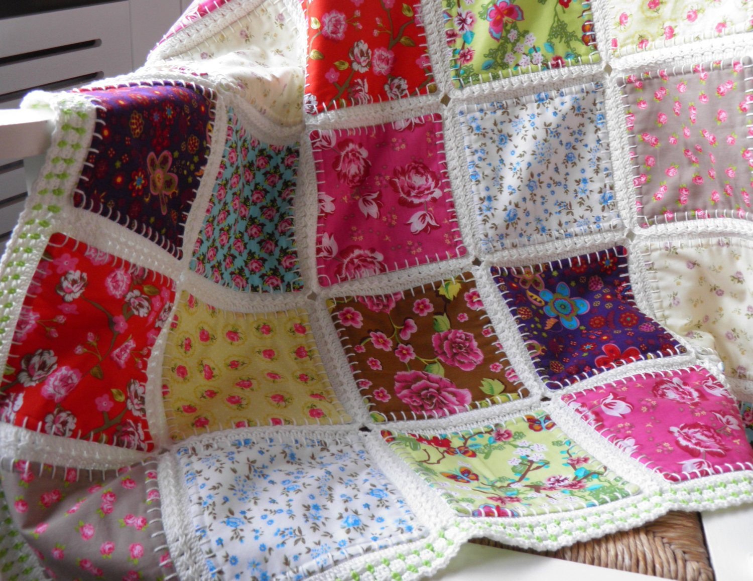 Elegant Fusion Quilt Baby Blanket Baby Throw Patchwork Quilt with Crochet and Fabric Quilt Of Top 45 Models Crochet and Fabric Quilt