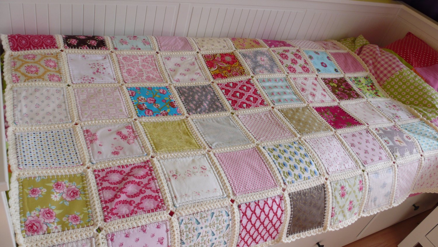 Fusion quilt Patchwork with crochet border Ready to ship