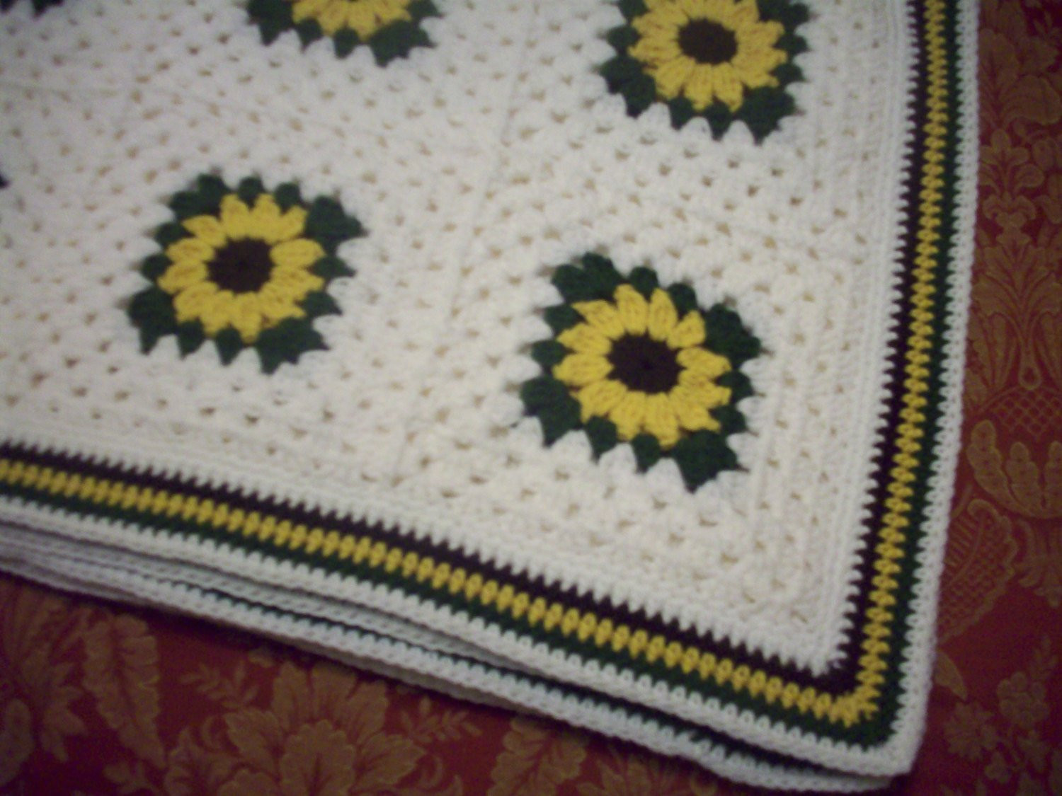 Elegant Hand Crocheted Sunflower Granny Square Blanket Afghan by Sunflower Crochet Blanket Of Elegant Hand Crocheted Sunflower Granny Square Blanket Afghan Throw Sunflower Crochet Blanket