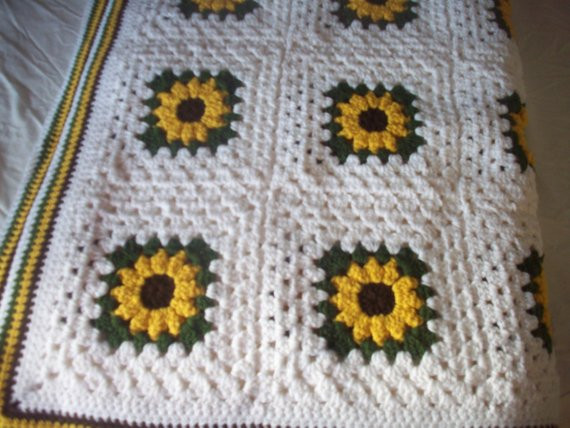 Hand Crocheted Sunflower Granny Square Blanket Afghan Throw