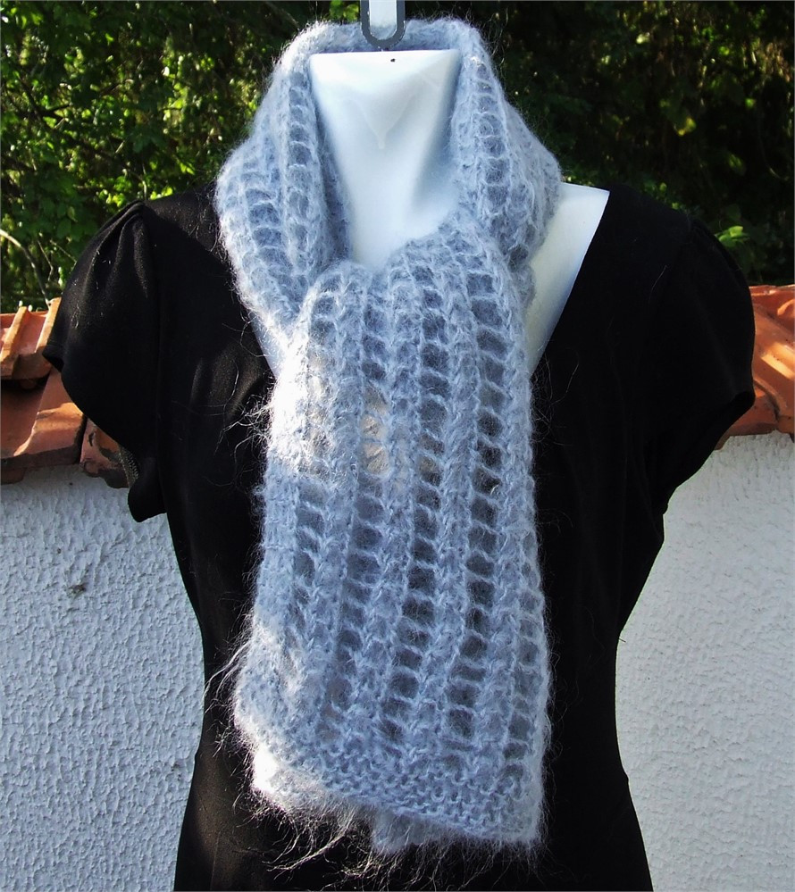 Hand knit lacy mohair scarf La s lace pattern wrap