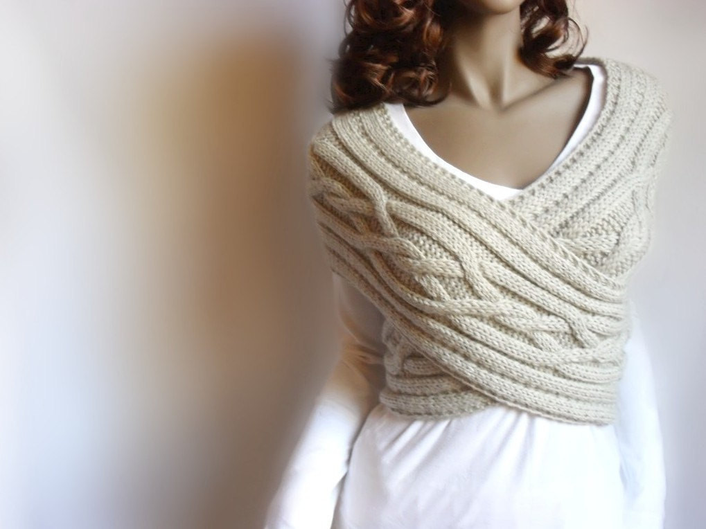 "Elegant Hand Knit Vest Cable Knit Womens Sweater Knit Cowl Many Cable Knit Sweater Pattern Of New Lace & Cable Sweater Dk Wool 30"" 40"" Knitting Cable Knit Sweater Pattern"