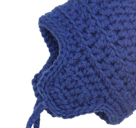 Handmade Baby Aviator Beanie Hat with Ear Flaps Royal Blue 6