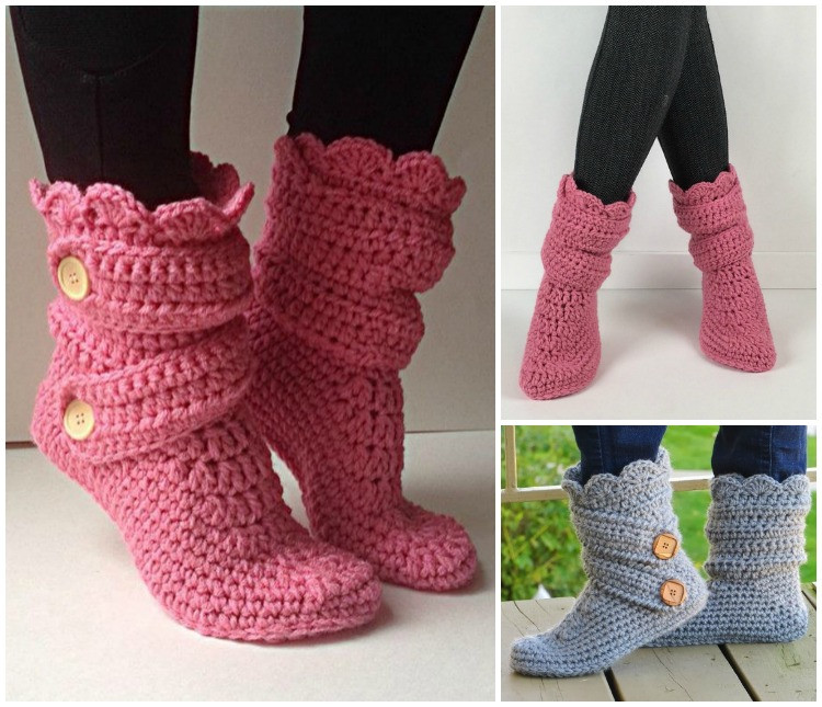 Elegant High Knee Crochet Slipper Boots Patterns to Keep Your Feet Crochet Adult Slippers Of Charming 47 Ideas Crochet Adult Slippers